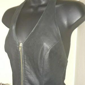Wilsons Vintage Black Leather Halter Dress